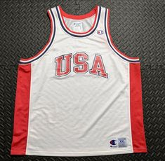 01726b55e Details about Vintage 90s Champion Men s Team USA Basketball Mesh Jersey  White Red 2XL