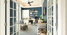 55 Awesome Home Office Design Ideas Make Improve Your Productivity, An office is easily the most vital thing for a person's degree of work ethic and productivity. Your home office may not really be the best situation t. L Shaped Office Desk, Motor Dc, Interior Design New York, Types Of Ceilings, Office Ceiling, Balkon Design, Best Ceiling Fans, Decoration Bedroom, Home Office Organization