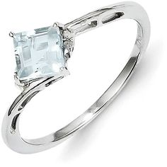 Sterling Silver Rhodium Plated Diamond & Aquamarine Square Ring ($63) ❤ liked on Polyvore featuring jewelry, rings, sterling silver, diamond rings, diamond jewelry, rhodium plated sterling silver ring, aquamarine diamond ring and sterling silver diamond rings