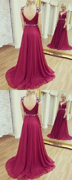 V Neck Sleeveless Backless Prom Dresses Chiffon Evening Dresses Chiffon Evening Dresses, Backless Prom Dresses, Prom Dresses Online, Cheap Prom Dresses, Stylish Dresses, Chiffon Dress, Dresses For Sale, Girls Dresses, Formal Dresses