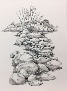 Pin by georgiana savu on art.pencil drawings/ sketches in 20 Drawing Rocks, Pencil Art Drawings, Art Drawings Sketches, Realistic Drawings, Painting & Drawing, Drawing With Pencil, Watercolor Painting, Nature Sketch, Nature Drawing