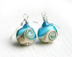 Beach Blue Earrings  lampwork beads on by MayaHoneyJewelry on Etsy