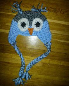Owl hat beanie baby crocheted -virkad ugglemössa