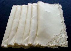 Set of 6 Antique Linen Dinner Napkins c.1930 by chalcroft on Etsy, $15.00
