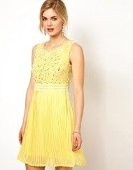 Lemon Frock and Frill Dress with Sequin Embellished Bodice and Pleated Skirt