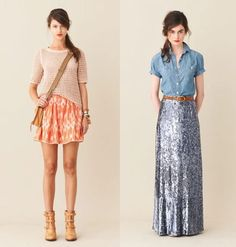 The long and the short of it. Where does one wear a long sequin skirt and a denim button down?  Who cares if you can look like this in it. I would wear it to the grocery store if I had to.