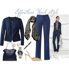Etcetera | Spring 2015 - ADMIRAL navy jacket and pant, INDONESIA navy and sand scarf.