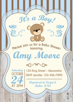 Invitación para Baby Shower. Con oso.