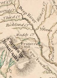 """1770 Collett Map of NC shows """"Frasers Mill."""" Coincidence, of course."""