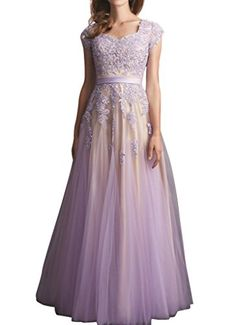 Firose Women's Cap Sleeve Long Lace Tulle Prom Dress Bridesmaid Dress Lavender US 2 Firose http://www.amazon.com/dp/B018LUPWV2/ref=cm_sw_r_pi_dp_9YKOwb1XTPE3E