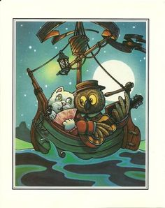 The Owl And The Pussy Cat - Vintage Book Print Of  The Owl And The Pussycat In A Boat At Sea.