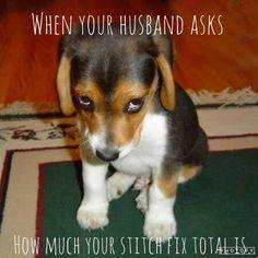 Hahaha.. When your husband asks how much your Stitch Fix total is.. Stitch Fix meme @stitchfix