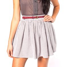 I can't wait for summer to be here! Full Woven Skirt White Brown by American Apparel