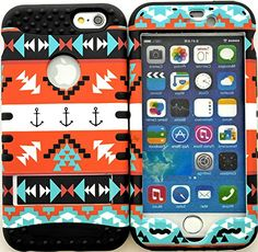 "myLife Stylish Design and Layered Protection Case for iPhone 6 Plus (5.5"" Inch) by Apple {Charcoal Black + Orange ""Nautical Aztec Anchor Finish with Kickstand"" Three Piece SECURE-Fit Rubberized Gel} myLife Brand Products http://www.amazon.com/dp/B00PX7XVWY/ref=cm_sw_r_pi_dp_tX2Cub1TXAQYF"
