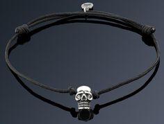 Silver Plated Skull on Black String Bracelet  - Imperi.ro