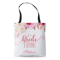 #bride - #Rose Pink & Yellow Floral Bride Tribe Monogram Tote Bag