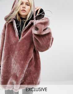 Story Of Lola Extreme Oversized Hoodie Coat In Faux Fur