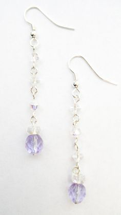 Clear and Lavender Glass Drop Earrings