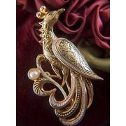 Vintage Damascene Peacock with Faux Pearl Brooch Pin