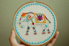"""Hand Embroidered Painted Elephant. Custom 5"""" Embroidery Hoop Art. Hand Stitched Fiber Art. Hand Made By Hoopla. on Etsy, $32.00"""