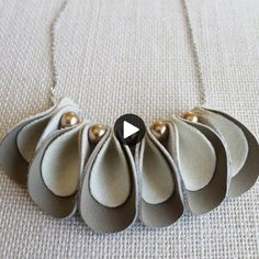 Felt and Leather Necklace, Scallops in Nude - . - Felt and leather necklace, scallops in nude – necklace - Felt Necklace, Fabric Necklace, Fabric Jewelry, Leather Necklace, Diy Necklace, Leather Jewelry, Jewelry Necklaces, Jewellery, Diy Leather Accessories