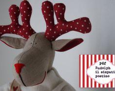 Christmas Reindeers Pattern ,PDF Sewing pattern for a Reindeer postman Festive Nordic,christmas patterns,Toy Reindeer Deer Sewing diy