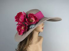 Woman Summer Hat Kentucky Derby Hat Real Touch Magnolia Wedding Hat Cocktail Hat…