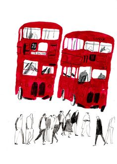 Quirky Red buses illustration by Rachel Gannon Art And Illustration, Ink Illustrations, London Illustration, People Illustration, Observational Drawing, We Are The World, Sketchbook Inspiration, Urban Sketching, Cross Hatching