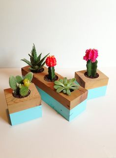 Wooden planters are awesome! WE love how you can incorporate a little green with the natural wood. #wooden #plants
