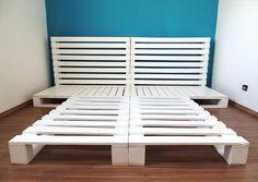 pintado de blanco cama de plataforma de palets