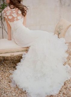 Sophisticated mermaid white wedding dress; Featured Dress: Chaviano Couture