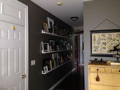 photo ledges, diy picture ledges, ten dollar, $10 ledges, valspar seine, decorating a long hallway