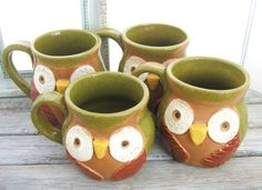 Owl mugs by my friend Christine Silbaugh at Bacak Bay Pottery on Etsy