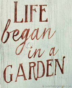 """Life began in a garden"" quote via Carol's Country Sunshine on Facebook"