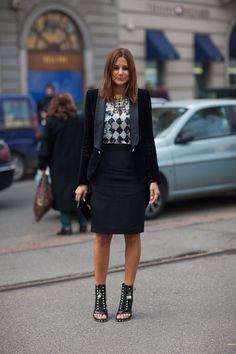 Christine Centenera in black Balmain- Street Style Fall 2013 - Milan Fashion Week