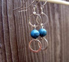 Turquoise stone bead and double loops sterling by CircleDLoop, $15.00