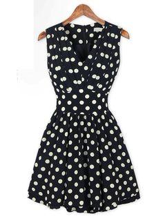 V-neck Polka Dot Chiffon Dress$40
