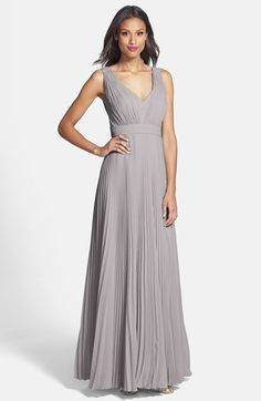 Donna Morgan 'Giselle' Pleated Chiffon Gown at Nordstrom.com. Tight accordion pleats enhance the billowing A-line cut of a lovely V-neck gown while the smooth double-banded waist ensures pretty feminine distinction.