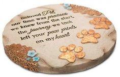 Pet Memorial Stone Dog Memories Garden Paw Prints Decorative Indoor Outdoor Gift