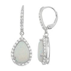 These gorgeous Gioelli dangle earrings are crafted of sterling silver and set with pear-shaped created opals in the center, surrounded by a halo of created white sapphire accents. The beautiful earrings secure with leverback clasps.