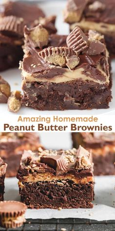 Chocolate Peanut Butter Brownies, Peanut Butter Desserts, Chocolate Glaze, Brownies With Nutella, Brownie With Frosting, Cacao Butter Recipes, Homemade Peanut Butter Cups, Chocolate Brownie Cookies, Peanut Butter Frosting