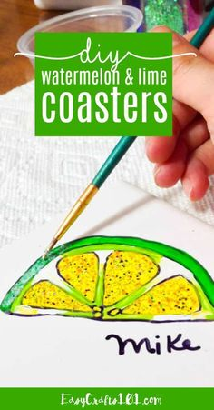 DIY Watermelon and Lime Coasters Easy Fall Crafts, Easy Crafts For Kids, Summer Crafts, Easy Painting Projects, Gloss Matte, Easy Diy Gifts, Arts And Crafts Projects, Easy Projects, Summer Activities For Kids