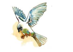 Original Watercolor Flying Sparrow Print. Song by Krislyndillard