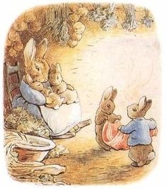 Beatrix Potter. Cotton-Tale & Peter folding the blanket & Old Mrs. Rabbit rocking Flopsy & Mopsy.