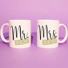 Wedding Gift Set - Custom Mug 'Mr.' Mug Set (Wedding Gift, Anniversary Gift, Gift For Bride, For Girlfriend, For Boyfriend) Engagement Gifts, Wedding Engagement, Bride Gifts, Wedding Gifts, Special Day, Special Gifts, Personalized Gifts, Handmade Gifts, Custom Mugs