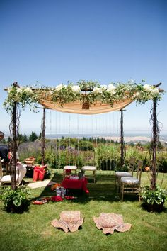 Greenery and florals added to Mandap to create a softer design