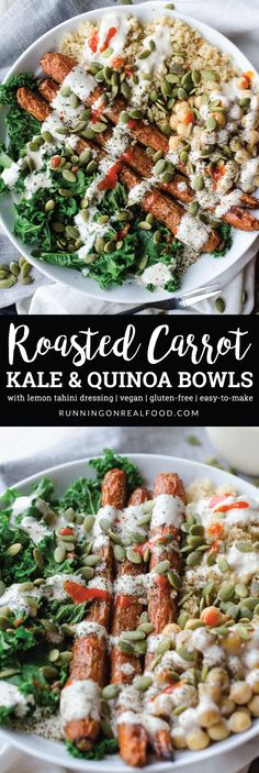 These vegan and gluten-free, Whole Roasted Carrot, Kale and Quinoa Bowls with Chickpeas and Lemon Tahini Sauce are easy to make, perfect for food prep and taste incredible. High in plant-based protein, fibre and nutrition.