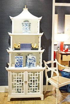 Details like the shaped shelf points can be added to plain pieces for a touch of Chinoiserie influence. Favorites from High Point Furniture Market Spring 2014 Asian Furniture, Chinese Furniture, Oriental Furniture, Furniture Decor, Painted Furniture, Furniture Design, Furniture Market, Home Interior, Interior And Exterior