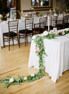 #tablescapes, #garland, #centerpiece  Photography: Connie Dai Photography - www.conniedaiphotography.com  Read More: http://www.stylemepretty.com/2014/12/12/blush-pink-mountain-lodge-wedding/