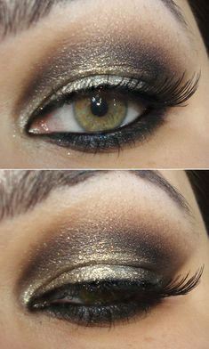 So pretty! Chocolate/rust shadows with white glitter on top. Finish with mascara.
